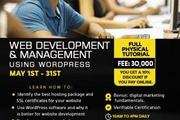 WEB DEVELOPMENT AND MANAGEMENT USING WORDPRESS. Full physical class.